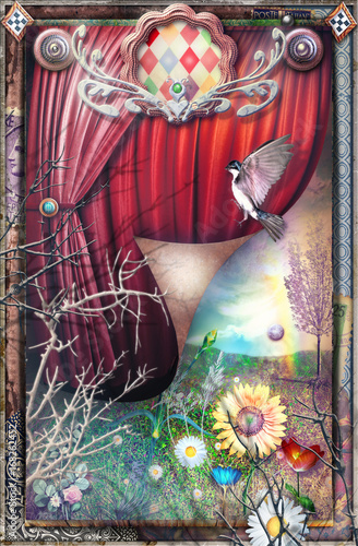 Papiers peints Imagination Magical and surreal circus with a view of the spring