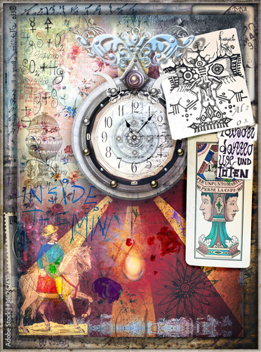 Foto op Aluminium Imagination Esoteric background with graffiti,clock,draws and tarots