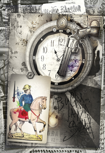 Staande foto Imagination Graffiti background with knight of swords,clock and revolver