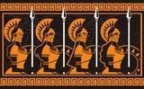 female amazon warriors orange and black pottery figures painting