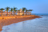 Egyptian parasols on the beach in Hurghada - 168270479