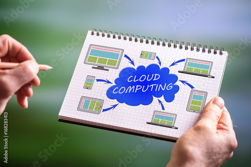 Cloud computing concept on a notepad