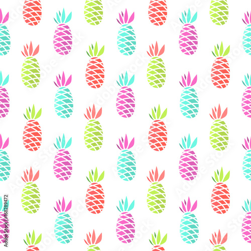 Seamless summer pattern with pineapple on a white background.  It can be used for packaging, wrapping paper, textile and etc. - 168289472