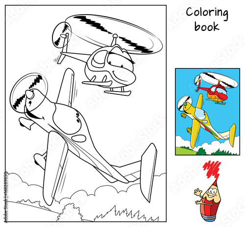 A small airplane boy and a helicopter girl. Coloring book. Cartoon vector illustration
