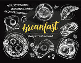 Breakfast set. English fried eggs with bacon, coffee, toast, croissant, Cottage cheese pancakes, asparagus wrapped in ham. Food elements top view collection. Vector ink hand drawn illustration. - 168298431