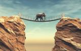 An elephant goes on a wooden bridge