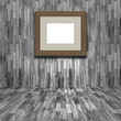3D blank picture frame in a wooden room