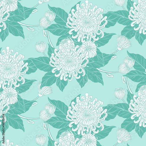 Chrysanthemum vintage pattern on green background.Chrysanthemum flower by hand drawing.Floral vintage highly detailed in line art style. - 168313404