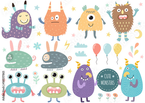 Naklejka Vector set of cute monsters. Funny characters isolated elements. Vector illustration