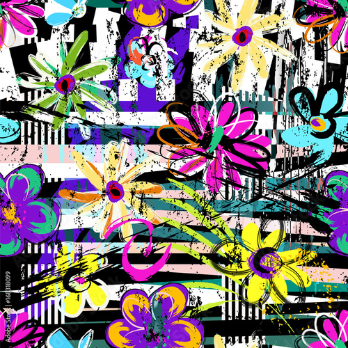 Fotobehang Abstract met Penseelstreken seamless geometric pattern background, retro/vintage style, with stripes, flowers, strokes and splashes