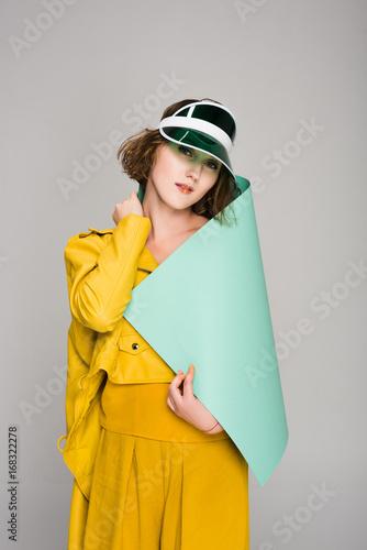 girl in retro plastic cap