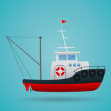 Tugboat. Fisherman ship. Cartoon style. Funny picture. Vector Image. - 168327076