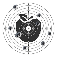 Bullet Holes In Target Vector. Success Shot. Paper Shooting Target For Shooting Competition. Illustration