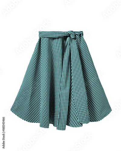 Turquoise and black checkered skirt with long ribbon belt isolated on white