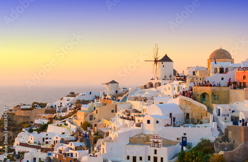 Fotobehang Santorini view on Oia village during sunset, Santorini island, Cyclades, Greece