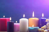 Colorful candles. Aromatherapy. Interior - 168357003