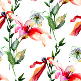 Seamless wallpaper with Lily, Poppy flowers and green leaves