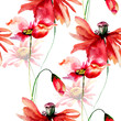 Seamless wallpaper with Poppies and Gerbera flowers - 168359835