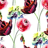 Seamless wallpaper with Hydrangea, Tulip and Rose flowers