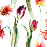 Seamless floral wallpapers with Poppy and Tulip and Gerber flowers