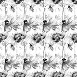 Monochrome seamless wallpaper with flowers