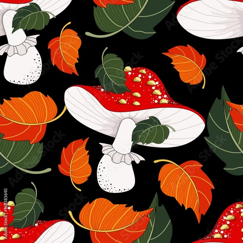 Seamless pattern with mushrooms and autumn leaves. Mushrooms. Vector illustration. - 168383640
