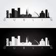 Dublin skyline and landmarks silhouette, black and white design, vector illustration. - 168384211
