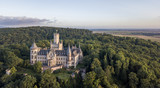 Aerial view of a Gothic revival Marienburg castle in Lower Saxony, Germany - 168387499