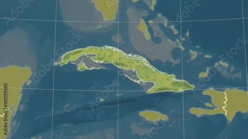 Cuba and neighborhood. Topographic