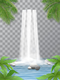 Fototapety Realistic vector waterfall with clear water. Stones in water. Jungle, leaves of plants in the foreground. Natural element for design landscape images. Isolated on transparent background.