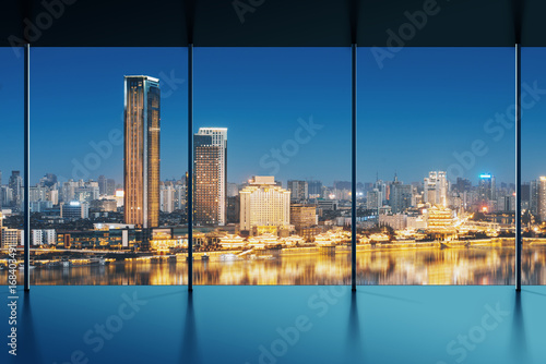 shanghai skyline outside the window - 168403491