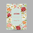 Vintage Autumn and Summer Floral Frame. Watercolor Hortensia Flowers for Invitation, Wedding, Baby Shower Card in Vector - 168405492