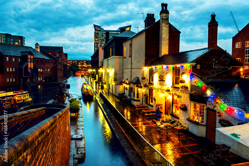 People walking at famous Birmingham canal in UK Poster