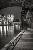 Notre Dame de Paris cathedral from the Seine River banks at night in Black & White. Ile de la Cite, Paris, France - 168413874
