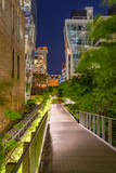 The High Line promenade at night in the heart of Chelsea. Manhattan, New York City - 168413892