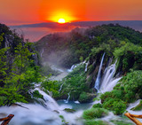 Fototapeta Landscape - sunrise over the waterfall in Plitvice ,Croatia © Mike Mareen