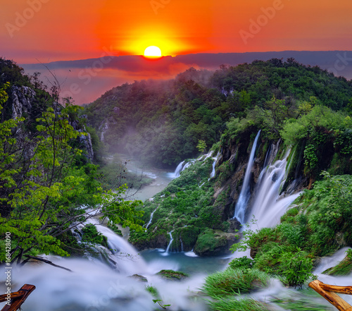 sunrise over the waterfall in Plitvice ,Croatia - 168428090