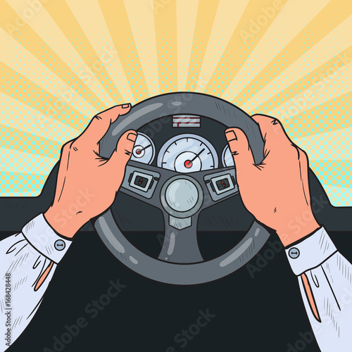 Sticker Pop Art Male Hands Steering Car Wheel. Safe Driving. Vector illustration