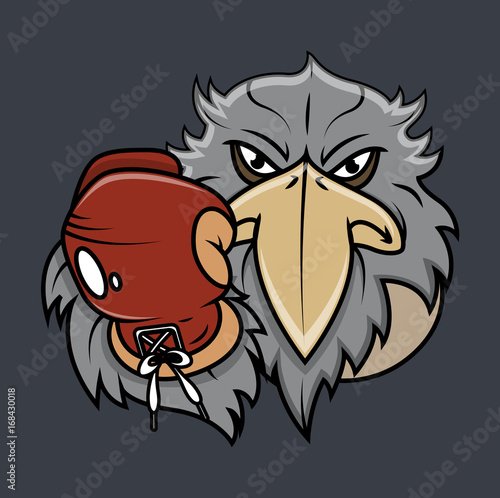 Eagle Face with Boxing Glove Vector