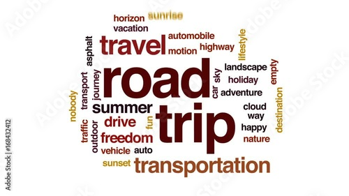 Road trip animated word cloud, text design animation.