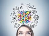 Girl s head and an education idea - 168435487
