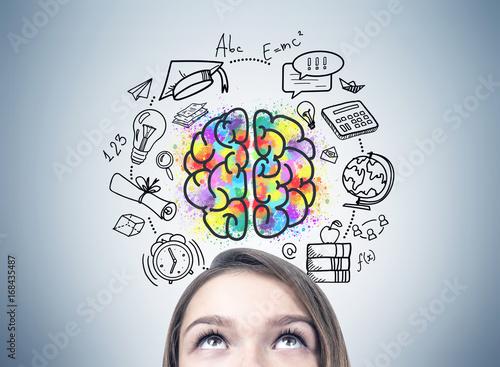 Leinwandbild Motiv Girl s head and an education idea