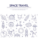 Space travel line banner. Set of elements of planets, space ships, ufo, satellite, spyglass and other cosmos pictograms.