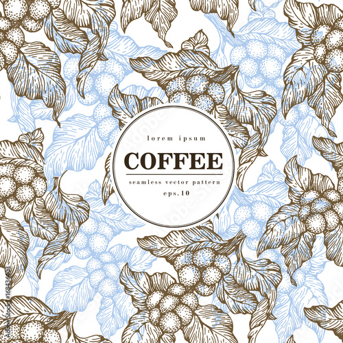 Poster Coffee beans vector seamless pattern. Engraved vintage style illustration. Organic coffee beans. Banner template.