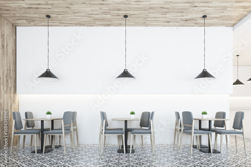 White cafe, wooden ceiling