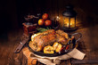 canvas print picture - Duck on old Polish roasted with thyme and Apple