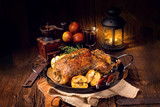 Duck on old Polish roasted with thyme and Apple - 168440045
