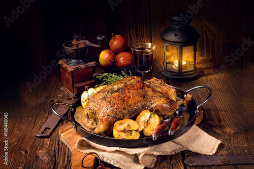 canvas print picture Duck on old Polish roasted with thyme and Apple