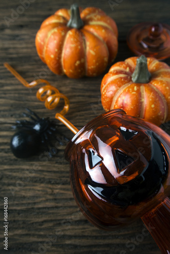 pumpkin on wood with decor in halloween concept Poster
