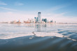 New Jersey skyline as viewed from a rare Frozen Hudson river during the 2015 winter Polar Vortex